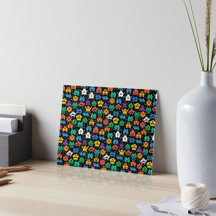Pixelated Emoji Monster Pattern Illustration by Gordon White | Emoji Monster Gallery Board Angle View Available in 3 Sizes @redbubble --------------------------- #redbubble #emoji #emoticon #smiley #faces #cute #addorable #pattern #frame #print #gallery #galleryboard #wallart