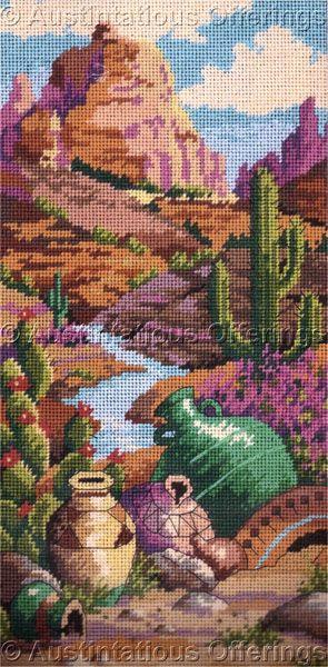 Rare Eriksen Canyon Cactus Needlepoint Kit Southwest Pottery