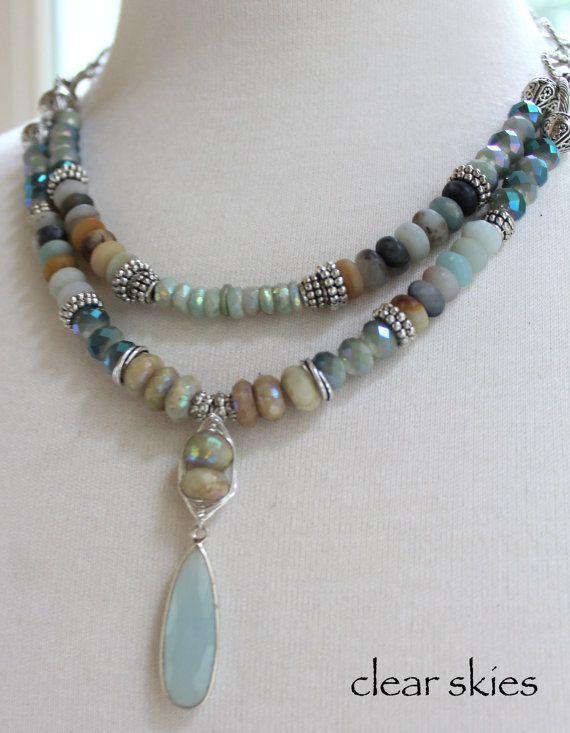necklace aquamarine necklace opal necklace blue by soulfuledges