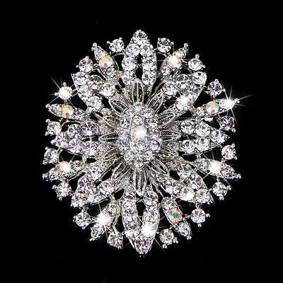 Wedding Silver Tone Flower Brooch Broach Pin Clear Rhinestone Crystal 6x5cm