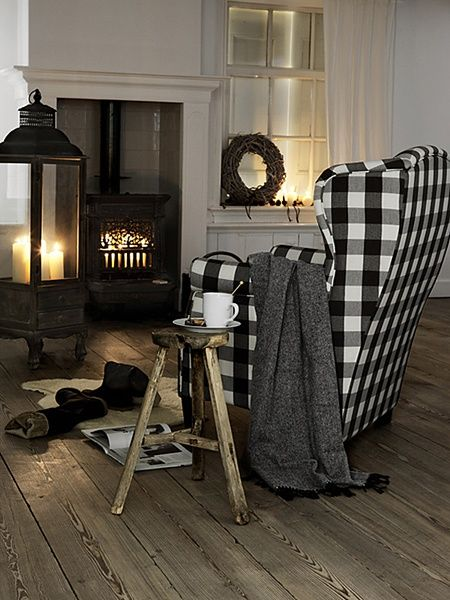 Perfection!  xo--FleaingFrance: Living Rooms, Wings Chairs, Black And White, Fireplaces, Black White, Wingback Chairs, Buffalo Check, Buffalo Plaid, White Buffalo
