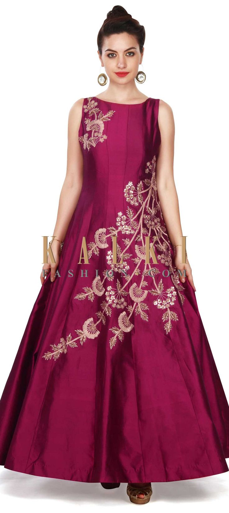 Buy this Magenta gown adorn in zari and sequin in floral embroidery only on Kalki