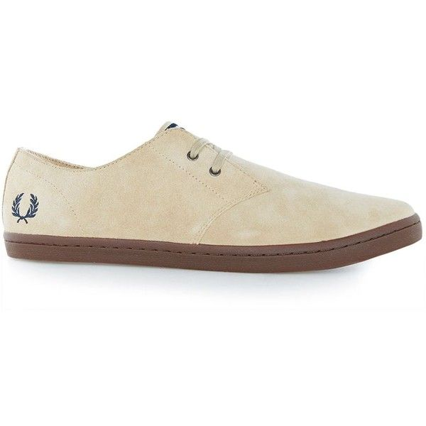 TOPMAN Fred Perry Beige Suede Trainers ($88) ❤ liked on Polyvore featuring men's fashion, men's shoes, men's sneakers, brown, beige mens dress shoes, topman mens shoes, men's low top shoes, men's low top sneakers and mens lightweight running shoes