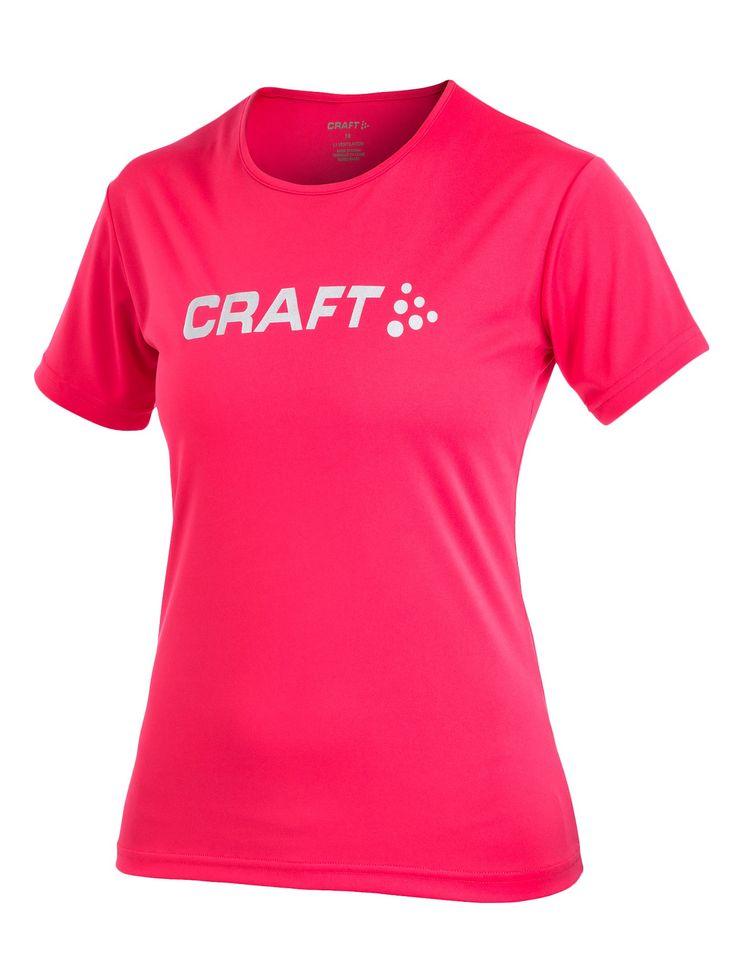 CRAFT Active Run Logo Tee damska koszulka do biegania 192482-1477 - ODZIEŻ DO BIEGANIA Różowy - MikeSport.pl