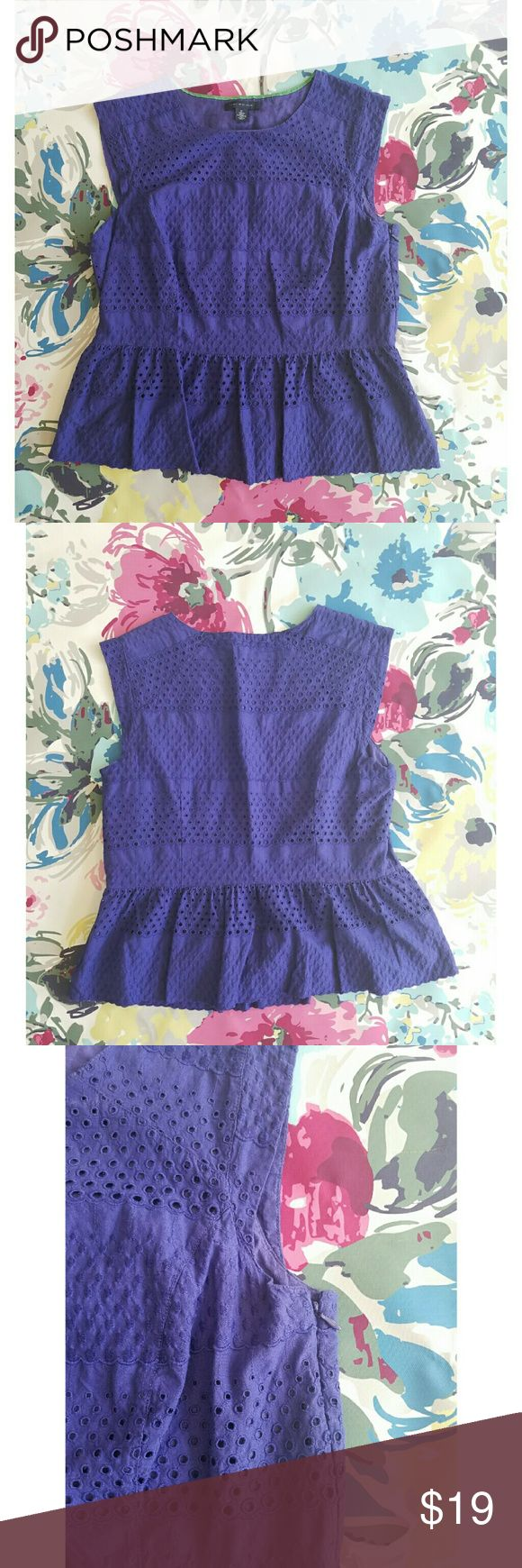 Tommy Hilfiger plum peplum eyelet top Light worn Linned  Zipper on size Cotton Armpit to armpit measures 19.5 inches 22 inches long 17.5 inch waist Tommy Hilfiger Tops