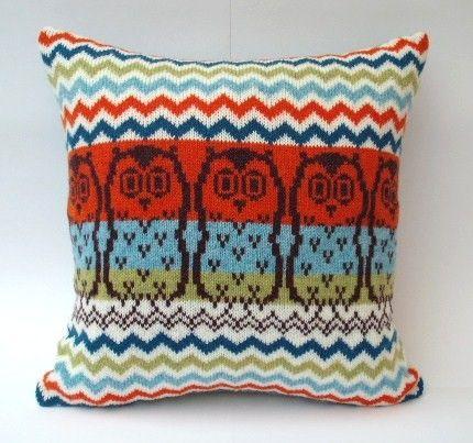 Owl Design Fairisle Knitted cushion $90