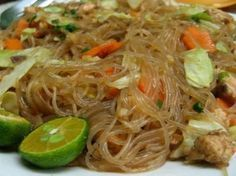 Pancit, or pansit, is a quick-cooked noodle dish that is one of the quintessential meals of Filipino cuisine. All kinds are available, and pancit is as popular at street stands as it is at family gatherings. The most common variety is pancit bihon, with rice vermicelli and a mix of meat and vegetables.