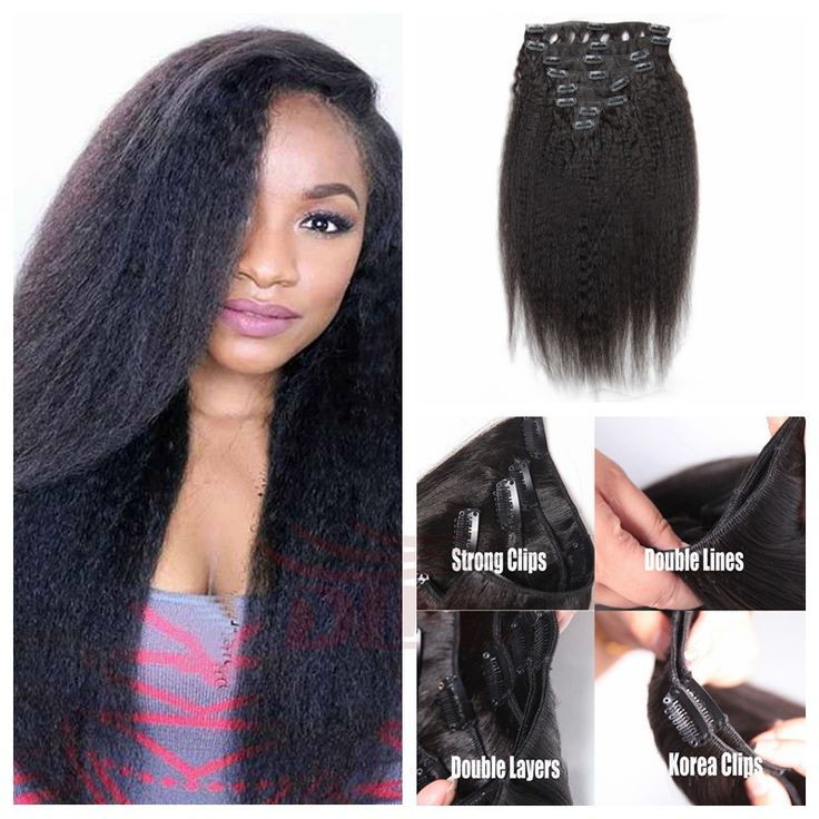 91 best clip in human hair extension images on pinterest wigs black woman brazilian virgin hair remy clip in hair extension full head clip in weave natural color kinky straight pmusecretfo Choice Image