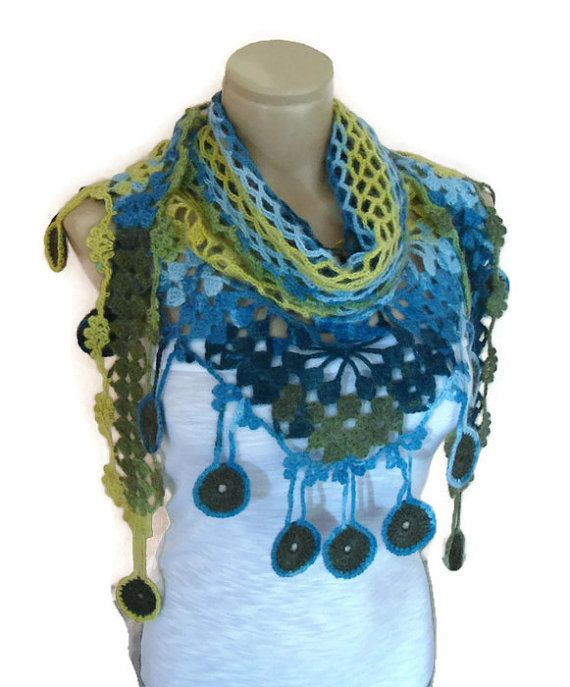 crochet scarf, hand-knitted, fashion 2014, unique gifts,  Women shawl, Green, Blue and yellow, valentines day