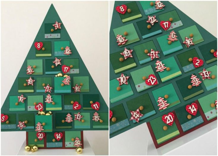 Hobbycraft painted and decorated wooden Advent calendar to count down to Christmas