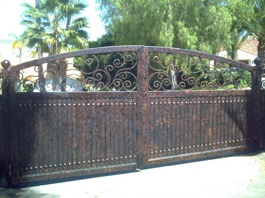 driveway+gate+pictures | Sliding Driveway Gates, with wrought iron scrolls at top, primer ...