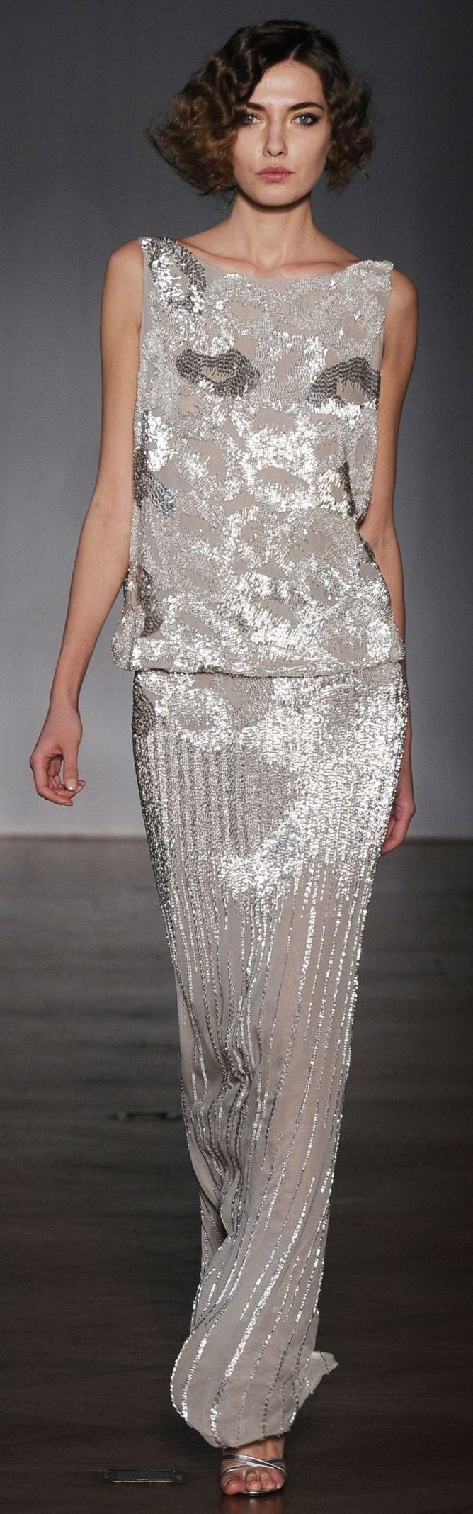 Dilek Hanif ~ Shimmering Evening Gown, Silver