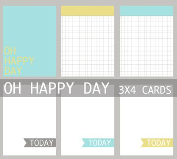 Oh Happy Day 3x4 Journaling Card Set for project life freebie