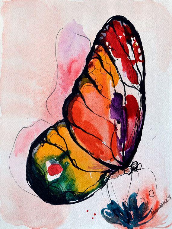 Rainbow Butterfly watercolor painting original by AlisaAdamsoneArt