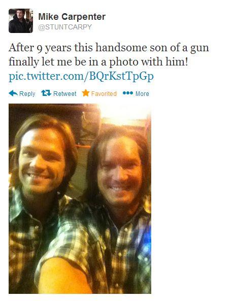Supernatural. Jared Padalecki and Mike Carpenter - stunt double. // Thank you, Mike!