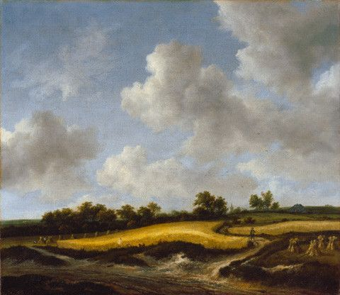 Landscape with a Wheatfield. #art #painting