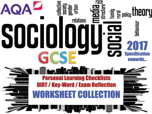 This download is for AQA Sociology GCSE (the new specification, 2017 onwards).<br />  <br />  The bundle contains PLC/DIRT worksheets for all 5 sections of the course: Research Methods, Education, Family, Crime & Deviance and Social Stratification<br />  ...