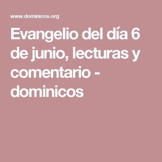 Evangelio del día 6 de junio, lecturas y comentario -    dominicos