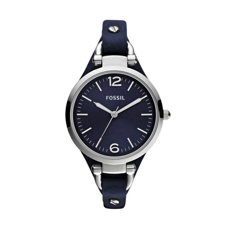 FOSSIL® : Georgia Leather Watch - Blue ES3146