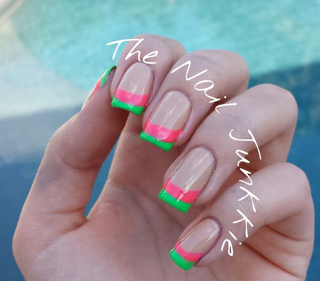 Pink and green French manicure