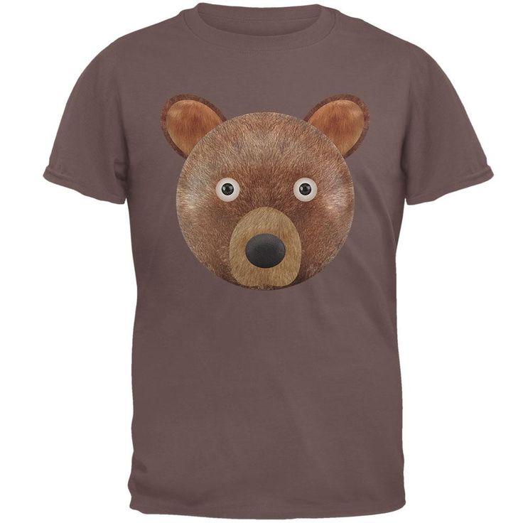 Cute Teddy Bear Head Brown T-Shirt