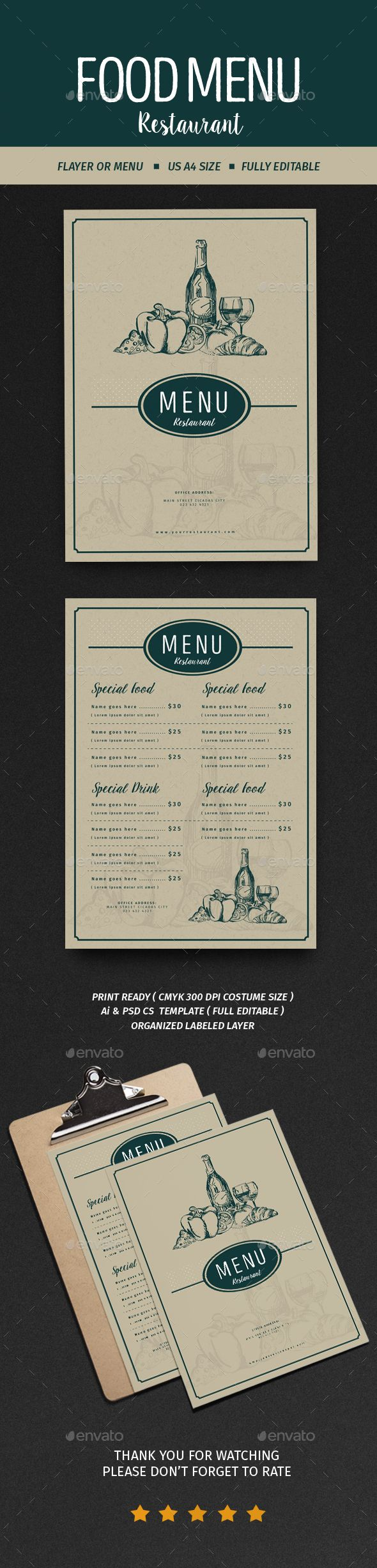 Vintage Menu Restaurant  PSD Template • Download ➝ https://graphicriver.net/item/vintage-menu-restaurant/17058322?ref=pxcr