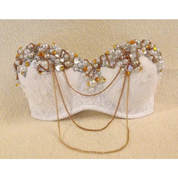 Glam Greek Goddess - Custom Sparkly Bra ($91) ❤ liked on Polyvore