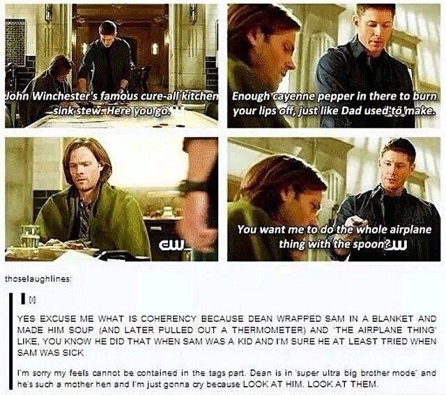Dean is such a worrier about Sammy 😂