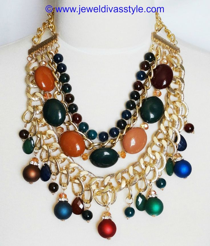 JDS - GOLD MULTI COLOURED STONE NECKLACE - http://jeweldivasstyle.com/my-personal-collection-new-gold-and-gold-multi-jewels/