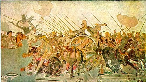The Battle of Issus occured in southern Anatolia, in Nov 333 BC between the Hellenic League led by Alexander the Great and the Achaemenid Persia, lead by Darius III, in the second great battle of Alexanders conquest of Asia. The invading troops defeated Persia.