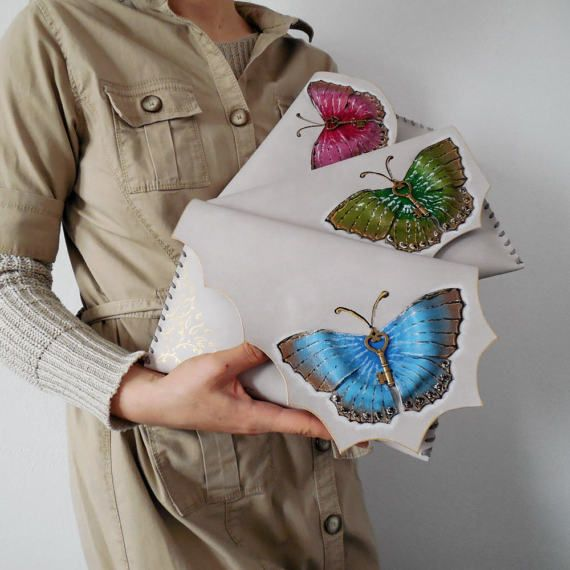 Butterfly clutchUnique Butterfly leather bagLeather painted