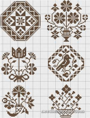 Quaker motifs on a Spot Sampler. Free sewing pattern graph for cross stitch or plastic canvas.