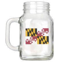 Patriotic Mason Jar with Flag of Maryland, USA