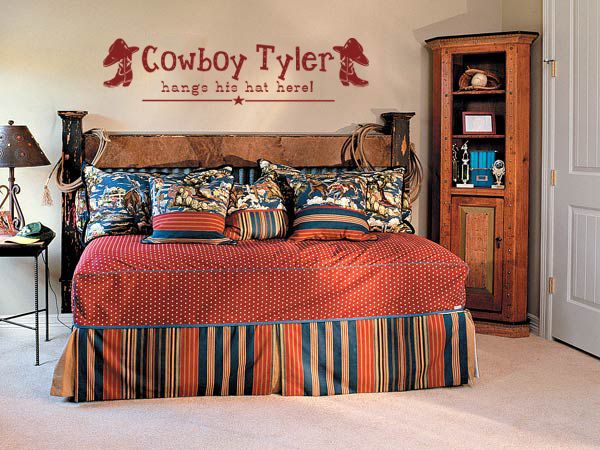 Decorating a cowboy western boys bedroom ideas vinyls for Cowboy themed bedroom ideas