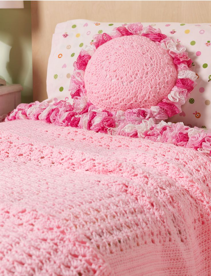 Sweet Ruffles Blanket & Pillow Crochet Pattern | Red Heart