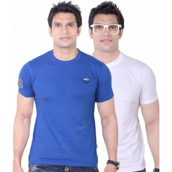 Buy Plain Mens T Shirts (Pack of 2) Online in India with free shipping. Shop now T Shirts online for mens at low price from Zebustore.com.
