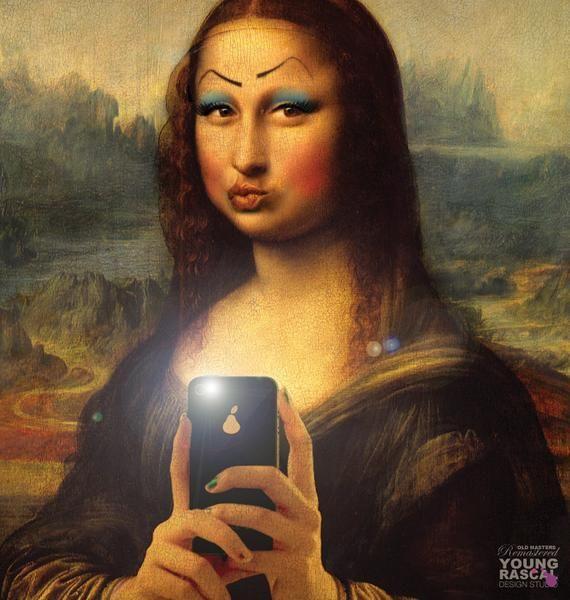 Selfie Mona Lisa Parody Mona Lisa Drawing Mona Lisa