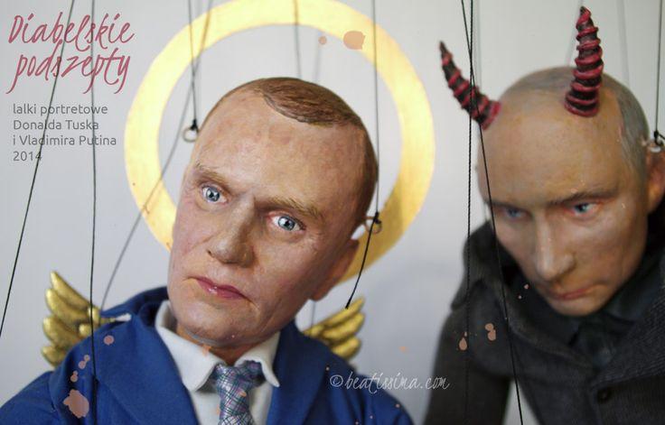 Lalki artystyczne, lalki portretowe Tuska i Putina autorstwa Bei Ihnatowicz. Lalka artystyczna, lalka portretowa, lalka autorska.