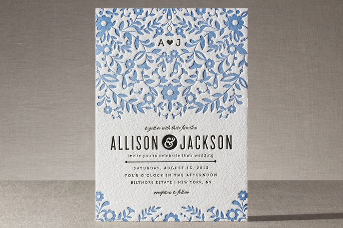 Paper Flowers Letterpress Wedding Invitations by Kristen Smith at minted.com