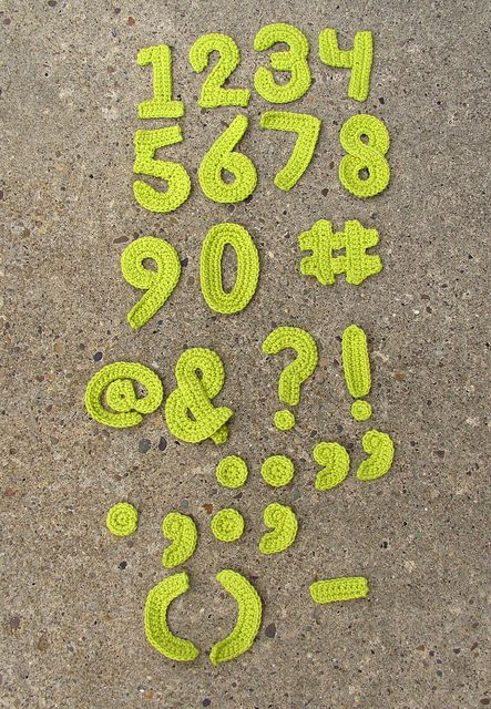 How To Crochet Numbers : Numbers & punctuation Crochet - Letters and Numbers Pinterest