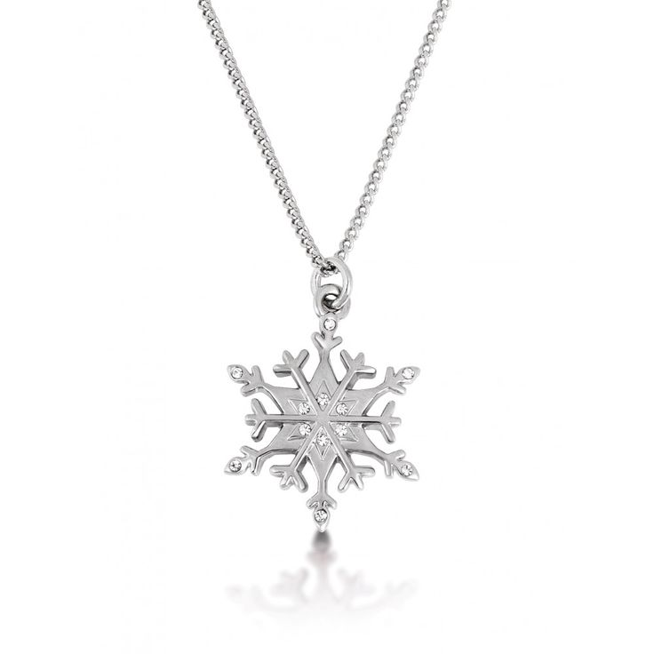 Disney Couture Frozen White Gold Plated Snowflake Necklace
