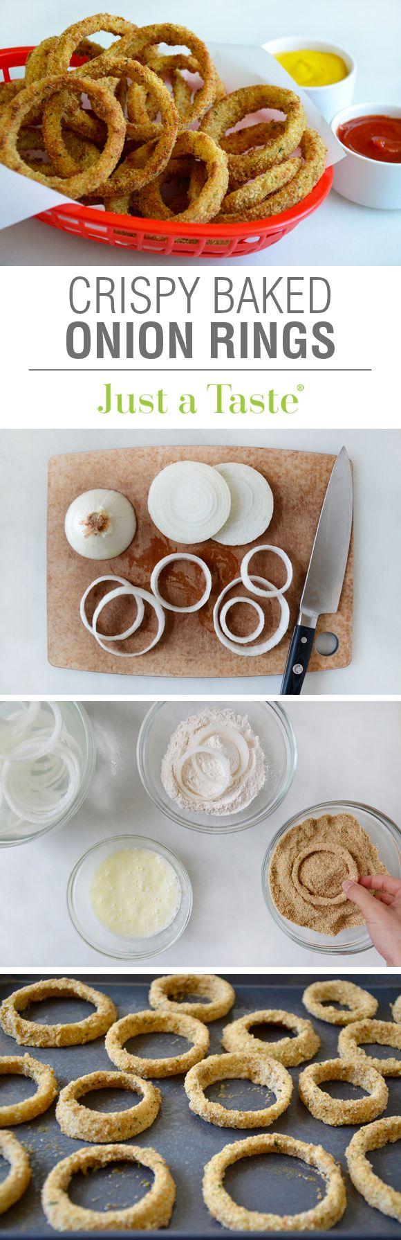 Crispy Baked Onion Rings #recipe via justataste.com