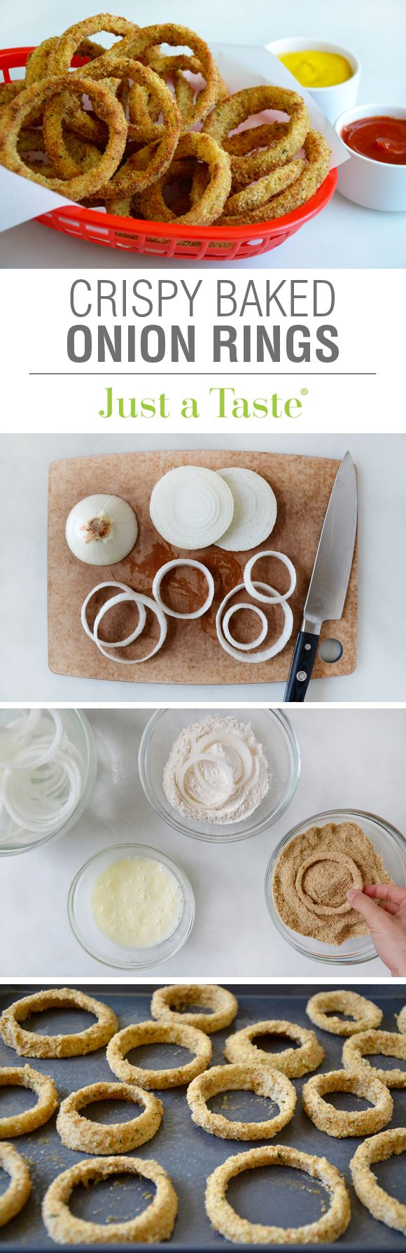 Crispy Baked Onion Rings #recipe via justataste.com
