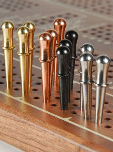 ~~~~~~~~~~This listing is for TWELVE (12) Pegs, 3 in each metal~~~~~~~~~~~~~~~~    High quality turned cribbage pegs in solid brass, solid copper,