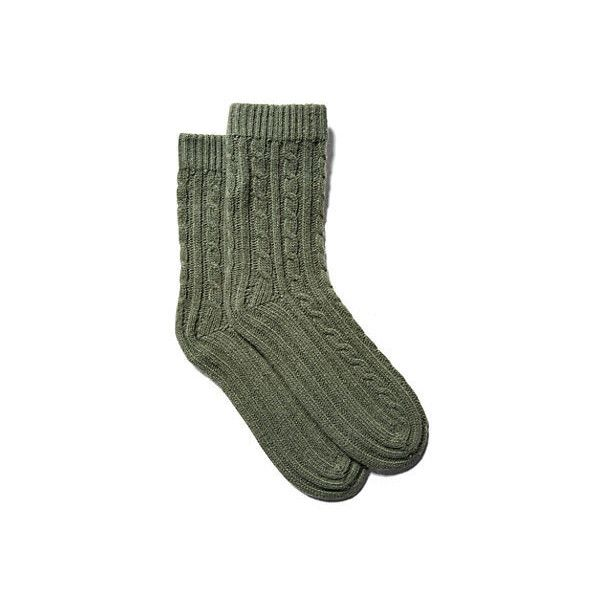 Cashmere Socks Loden Socks ($55) ❤ liked on Polyvore featuring intimates, hosiery, socks, clothing - socks, socks/tights, tights, loden green, cable sock, portolano and cashmere socks