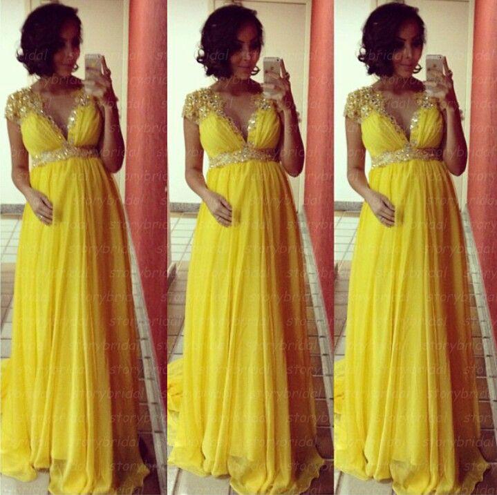 Yellow prom dress, cap sleeve prom dress, maternity