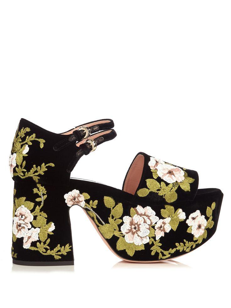 Floral-embroidered velvet platform sandals | Rochas | MATCHESFASHION.COM US