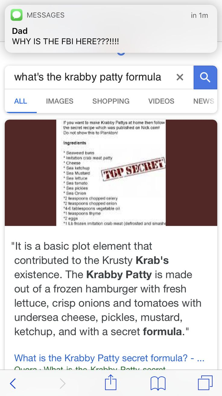 I like how he is looking at Krabby Patty things and the dad texts WHY IS THE FBI HERE