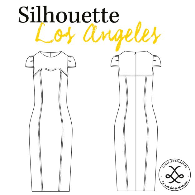 Patron couture et tutoriel Robe Los Angeles par Louis Antoinette Paris - Dessin technique