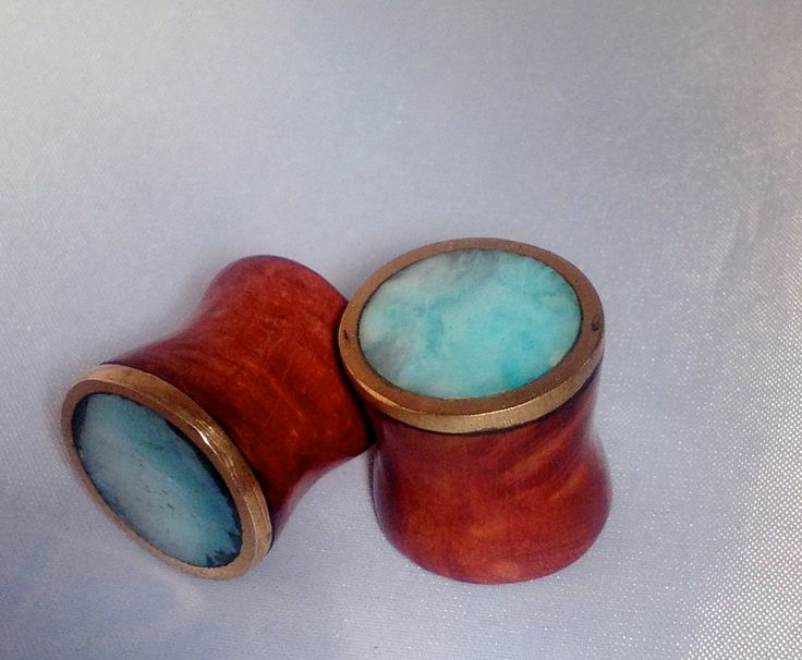 """Red manzanita, mexican opal and brass gauges/plugs 5/8"""". $75.00, via Etsy."""